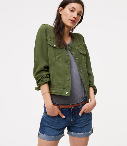Image of Collarless Canvas Jacket