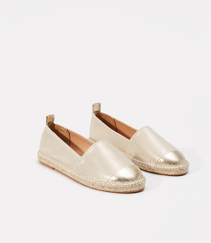 Image of Metallic Cap Toe Espadrille Flats