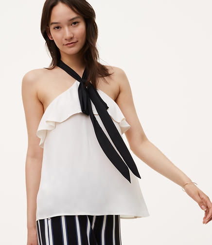 Image of Tie Flounce Halter Top
