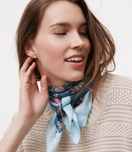 Image of Delicate Floral Square Silk Scarf