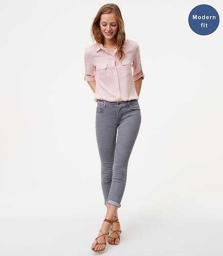 Image of Modern Skinny Crop Jeans in Vivid Grey Wash
