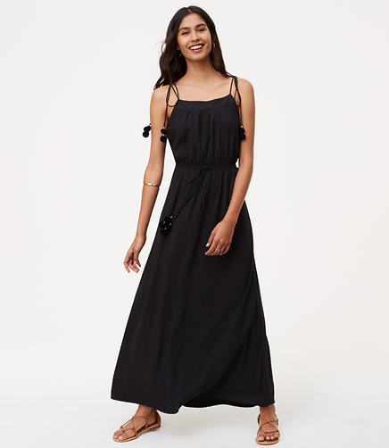 Image of Petite Pom Pom Maxi Dress
