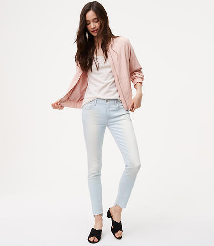 Image of Modern Step Hem Skinny Jeans in Super Light Wash