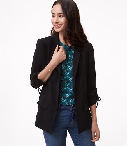 Cinched Sleeve Open Blazer