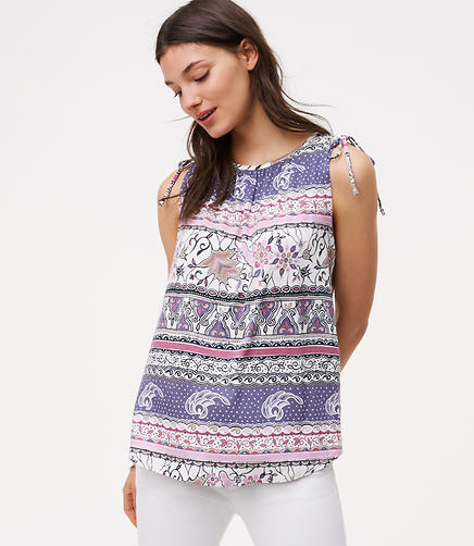 Image of Paisley Stripe Tie Shoulder Top