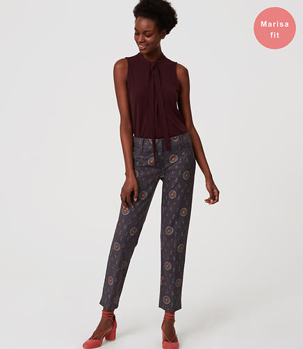 Petite Floral Medallion Riviera Pants in Marisa Fit