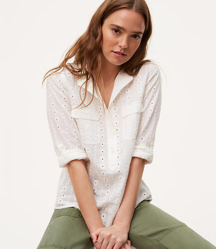 Image of Eyelet Utility Blouse