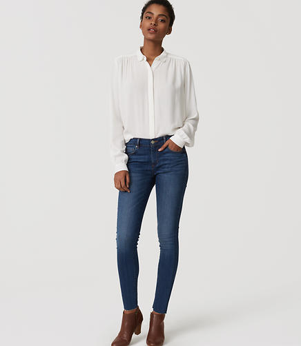 Image of Petite Modern Frayed Skinny Jeans in Classic Mid Vintage Wash