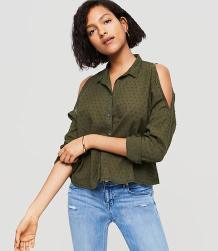 Image of Lou & Grey Dobby Stripe Cold Shoulder Shirt
