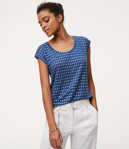 Image of Spotted Linen Cap Sleeve Tee