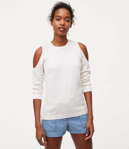 Image of Petite Halter Cold Shoulder Sweater