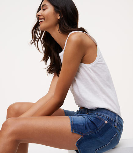 Image of Side Tipped Denim Shorts in Stonewash