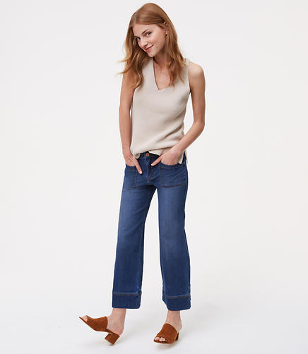 Image of Wide Leg Crop Jeans in Dark Indigo Wash