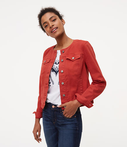 Image of Collarless Denim Jacket