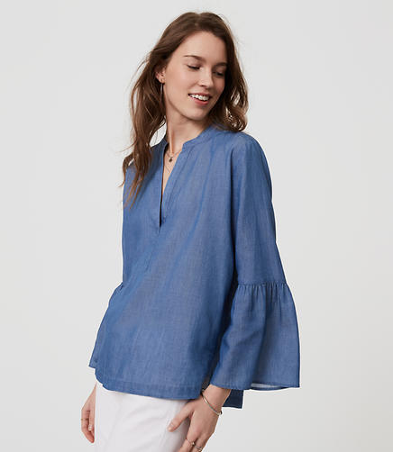 Image of Chambray Bell Sleeve Softened Shirt