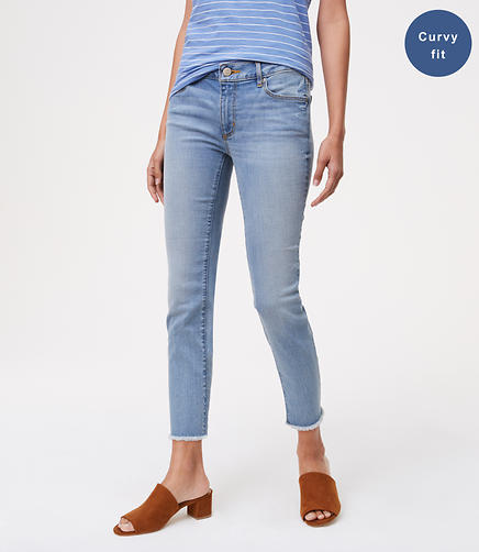 Image of Curvy Frayed Skinny Crop Jeans in Authentic Light Indigo Wash