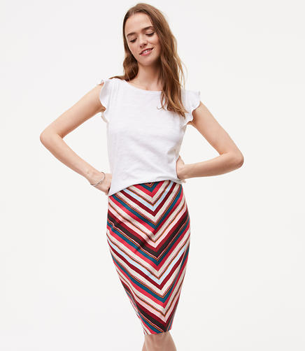 Image of Chevron Pull On Pencil Skirt