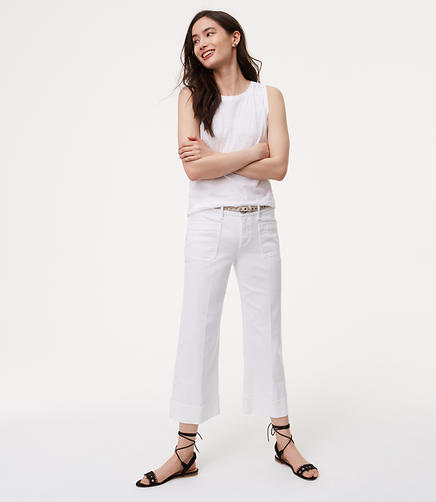 Image of Wide Leg Crop Jeans in White
