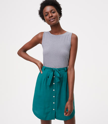 Image of Tie Waist Button Skirt