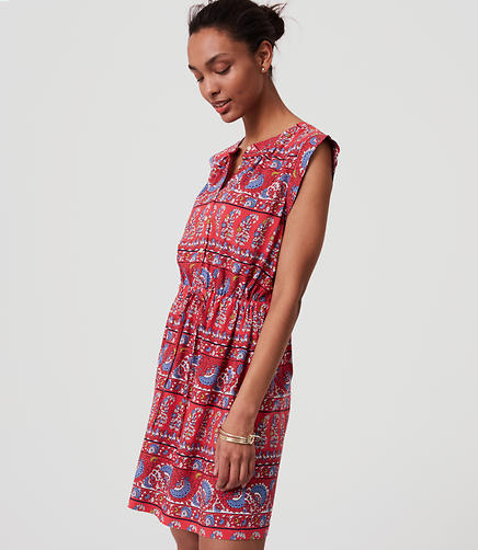 Image of Fan Floral Cap Sleeve Shirtdress