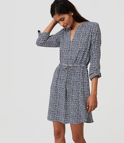 Image of Mosaic Split Neck Shirtdress