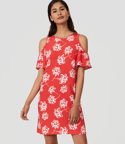 Image of Floral Cold Shoulder Dress