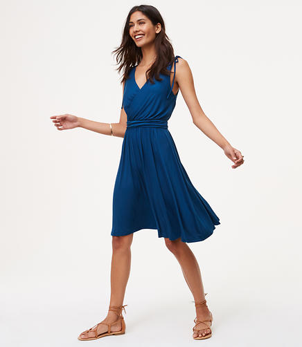 Image of Shoulder Tie V-Neck Dress