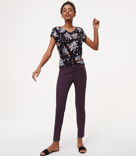 Image of Modern Unpicked Skinny Ankle Jeans in Midnight Violet