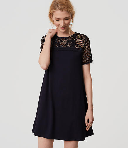 Image of Petite Lace Yoke Swing Dress