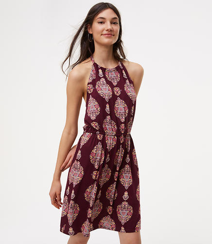 Image of LOFT Beach Floral Medallion Halter Dress