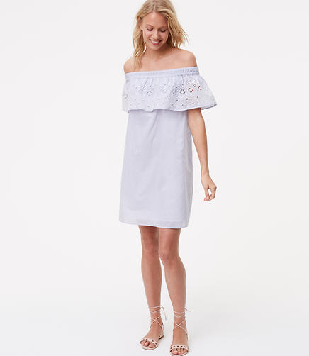 Image of Eyelet Off The Shoulder Dress