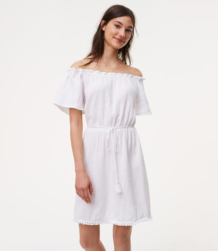 Image of LOFT Beach Tasseled Off The Shoulder Dress