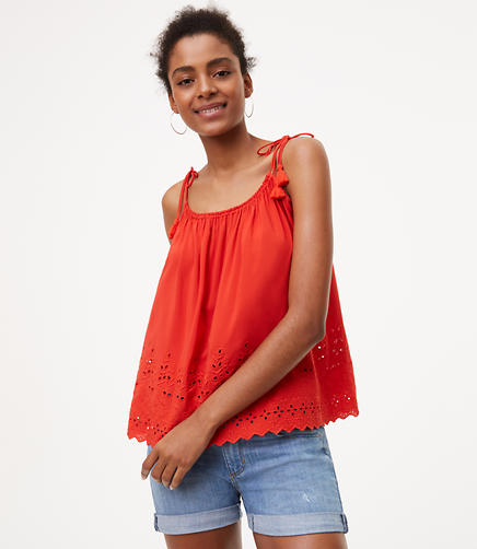 Image of Tassel Eyelet Top
