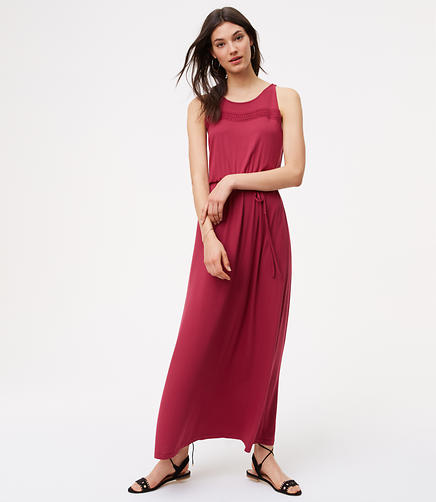 Image of Petite Crochet Sleeveless Maxi Dress