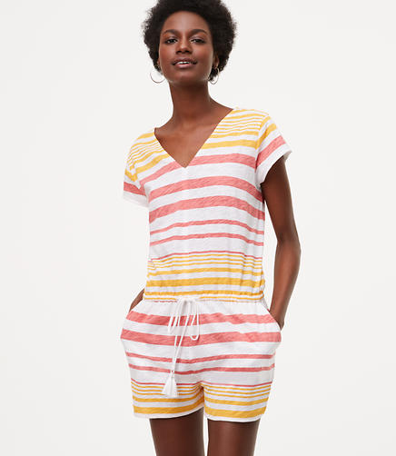 Image of LOFT Beach Striped Drawstring V-Neck Romper