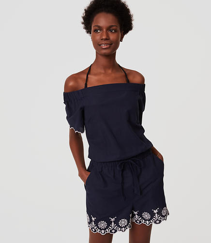 Image of LOFT Beach Embroidered Off The Shoulder Romper