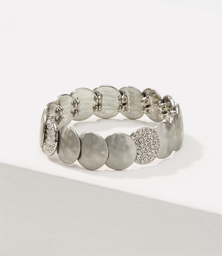 Image of Pave Hammered Disc Stretch Bracelet