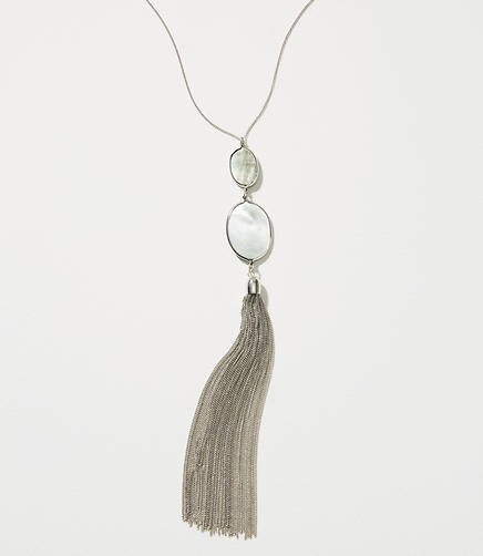 Image of Stone Metallic Tassel Necklace