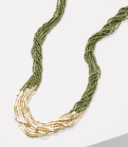 Image of Metallic Bar Multistrand Beaded Necklace