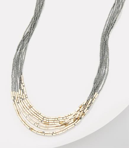 Image of Metallic Bar Multistrand Beaded Necklace