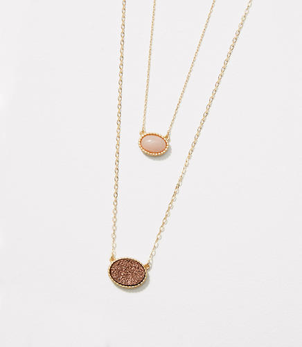 Image of Double Layered Stone Pendant Necklace