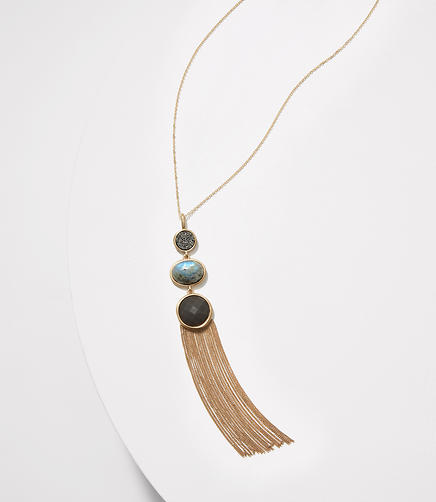 Image of Stacked Stone Tassel Necklace
