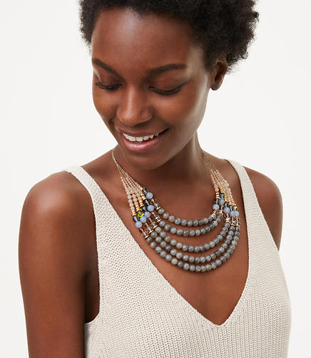 Image of Smoky Multistrand Beaded Necklace