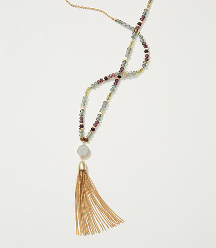 Image of Tasseled Bead Necklace