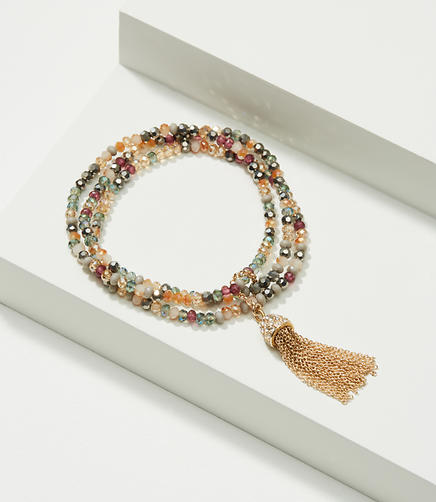Image of Tasseled Beaded Stretch Bracelet Set