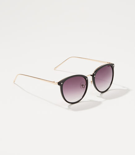 Metallic Arm Round Sunglasses