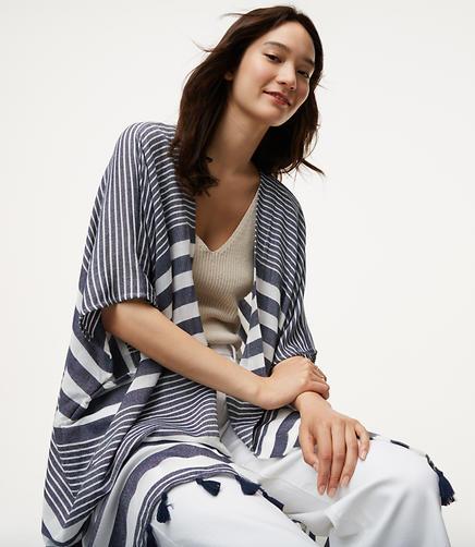 Image of Stripe Tasseled Kimono