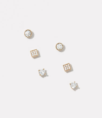 Mixed Crystal Stud Earring Set