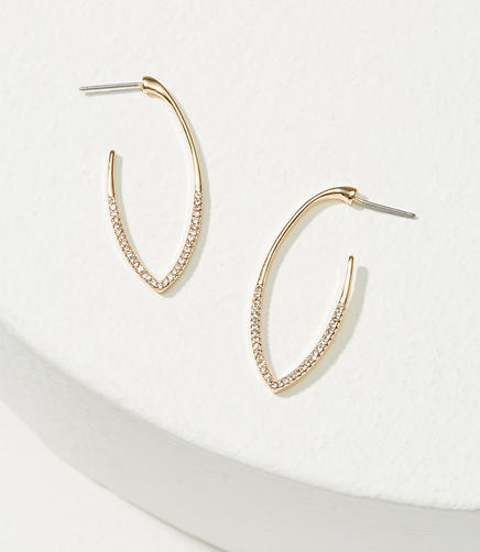 Pave Drop Hoop Earrings