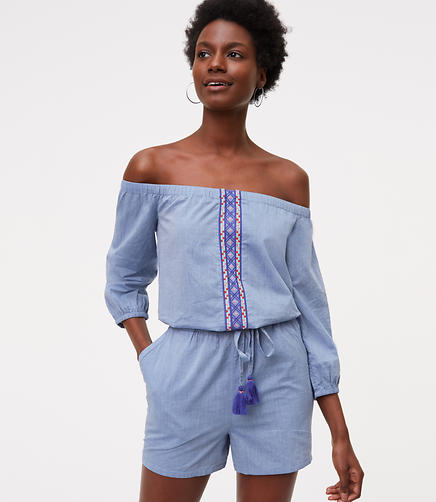 Image of LOFT Beach Chambray Embroidered Romper